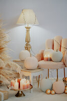 Lit candles and pumpkins in living room, Arezzo, Tuscany, Italy