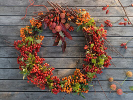 Autumn wreath made from firethorn with rose hips, cornus and spurge