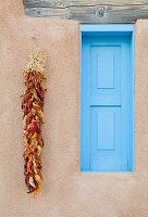 Blue Window with Chili Peppers, Ranchos de Taos, New Mexico, USA