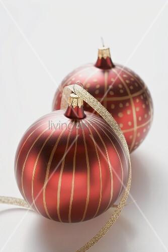 Rote Christbaumkugeln.Rote Christbaumkugeln