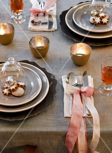 A festively laid table for Christmas