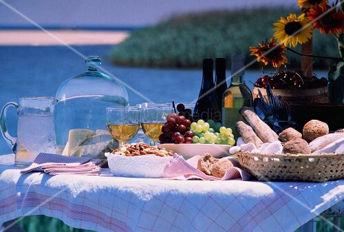 Lakeside Wine Picnic; Cheese and Bread