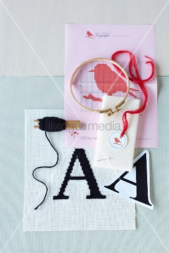 An embroidery pattern and embroidery utensils