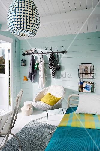 Pale blue, wooden, Scandinavian-style summer house