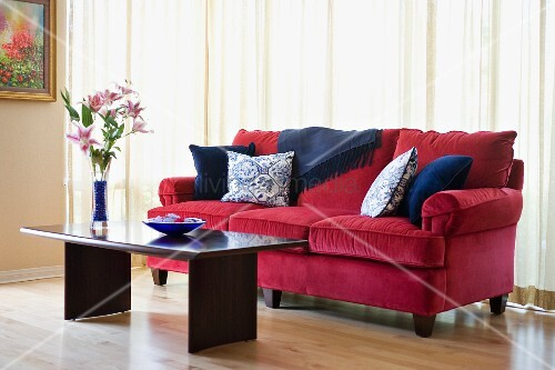 Red sofa with blue accent throw pillows – Buy image ...