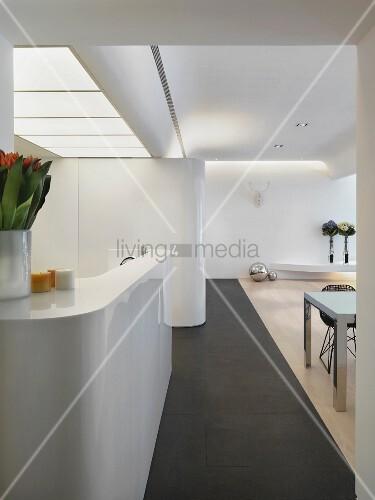 Modern white kitchen counter