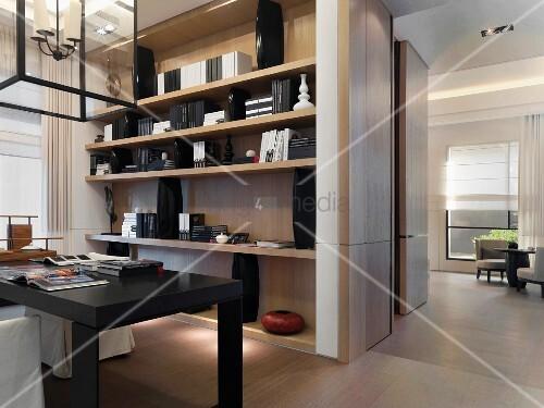 moderne offene wohnung im schwarzweiss look mit weichen. Black Bedroom Furniture Sets. Home Design Ideas