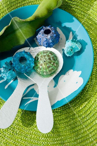 Plastic seashells on salad servers in bowl and green raffia place mat