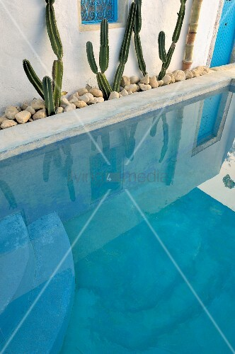 Pool of turquoise water edged by bed of pebbles and cacti