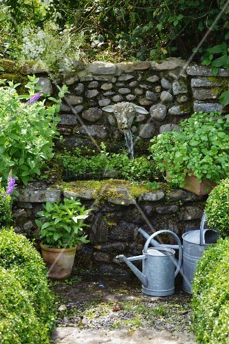 Zinc watering cans in front of stone-walled fountain with stone sheep's head as water spout
