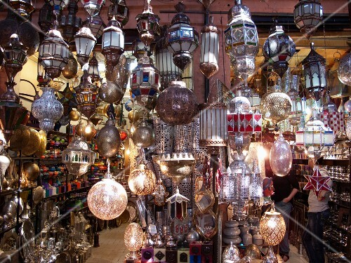 Oriental shop selling lamps and accessories