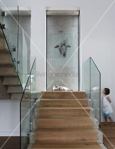 steintreppe mit l uferartigem holzbelag und glas br stungsgel nder tierzeichnung an glasscheibe. Black Bedroom Furniture Sets. Home Design Ideas