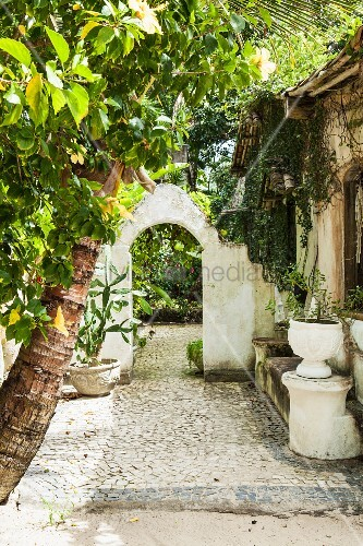 Cobbled area in garden of Brazilian beach house with potted plants and stone bench in front of masonry archway