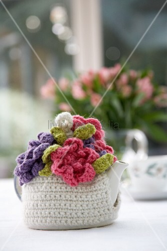 Hand-made, yarn tea cosy