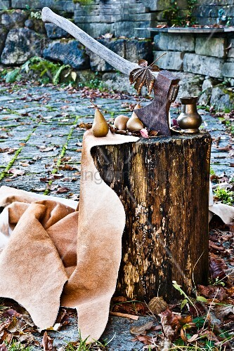 Axe stuck in wooden block with pears and metal vessel in autumnal garden