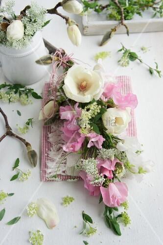 Garland of sweet peas, chervil, spirea and magnolia