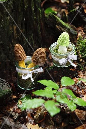 Crocheted toadstools in jars on mossy tree stump