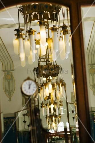 Art deco chandelier in hotel