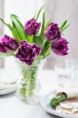 Lila Tulpen in einer Glasvase auf weiss gedecktem Tisch