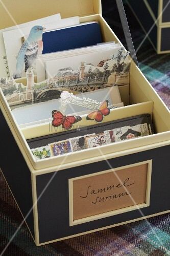 Elegant card box of postage stamps and postcards