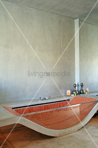 Bathtub Made From Curved Concrete Slab And Gl Side Wall With Red Mosaic Tiles Inside In