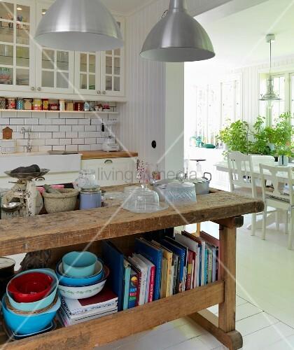Hobelbank Küche alter hobelbank als küchentheke in skandinavischer küche mit