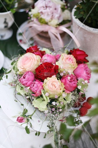 Heart-shaped arrangement of roses