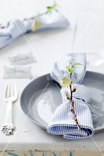 Napkin and willow sprig arranged on place setting