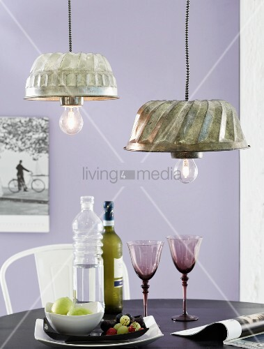 DIY, vintage lampshades upcycled from old bundt cake moulds above dining table