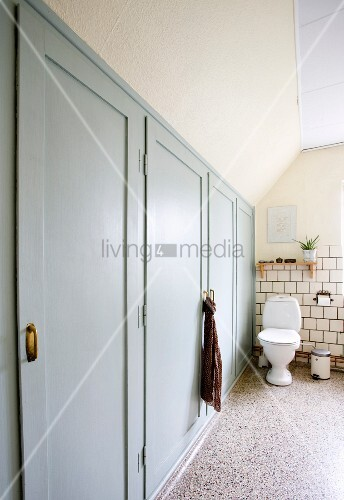 Fitted cupboards with grey-painted doors and pedestal toilet on terrazzo floor