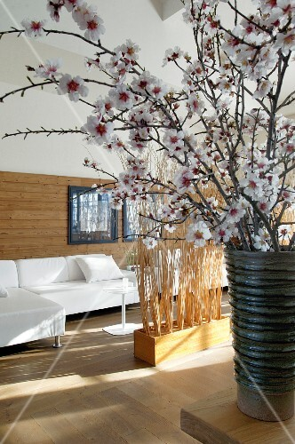 Half-height wood cladding behind white sofa combination, partitions made of bundled brushwood and vase of cherry blossom in foreground