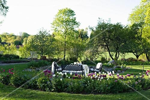 idyllischer sitzplatz im garten bl hende tulpen in angelegtem beet bild kaufen 11349295. Black Bedroom Furniture Sets. Home Design Ideas