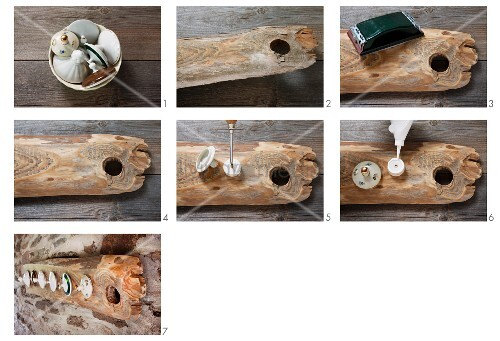 Instructions for hand-crafting vintage coat rack from piece of old wood with knot hole and various china lids glued to bolted-on wooden discs