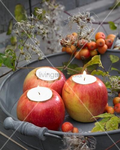 Apples used as tealight holders
