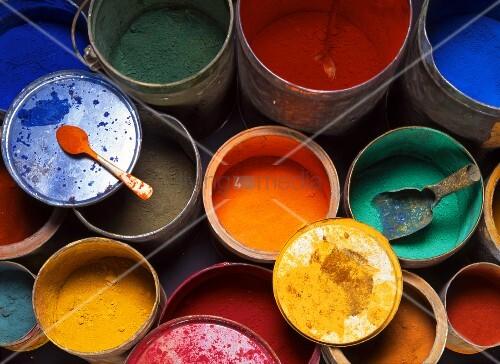 Pigments in metal buckets