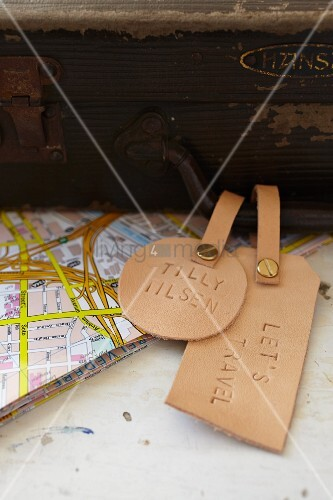Hand-crafted leather suitcase tags