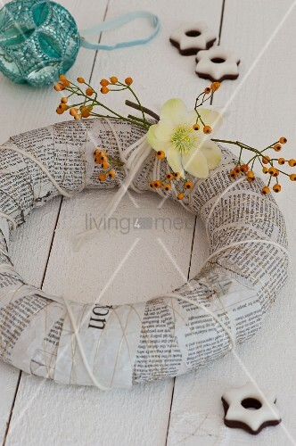 Advent wreath hand made from newspaper