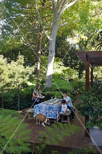 Family and dog on wooden terrace with set table surrounded by tropical plants