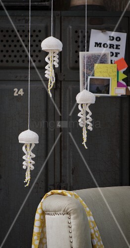 A self-crocheted jellyfish mobile