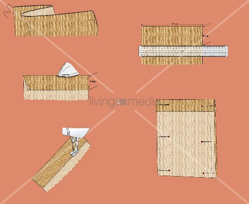 Sewing instructions for making hessian bag (illustration)