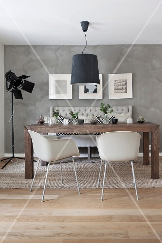 Moderne Möbel Im Skandinavischen Esszimmer Mit Wand In Beton Optik