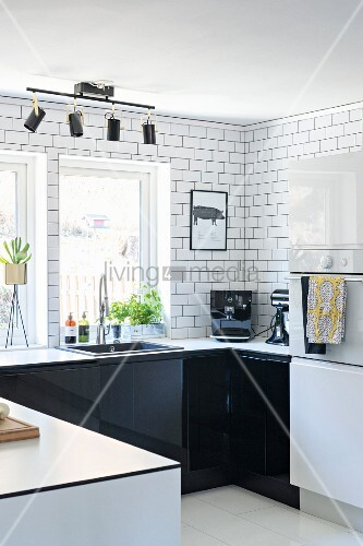 U-shaped kitchen counter with black … – Buy image – 11409735 on chrome edging trim for cabinets, dining room cabinets, u-shaped living room furniture, u-shaped outdoor kitchens, l-shaped hinges for cabinets, l-shaped corner cabinets, living room cabinets, breakfast room cabinets, kitchens without upper cabinets, u-shaped restaurant booths, powder room cabinets, foyer cabinets,