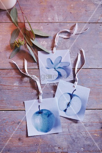 Photos of apples for hanging on a Christmas tree