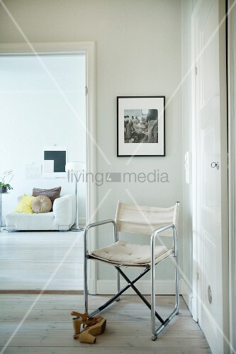 Bauhaus-style director's chair and view into living room