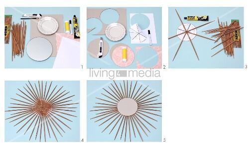 Hand-crafting a mirror frame from chopsticks