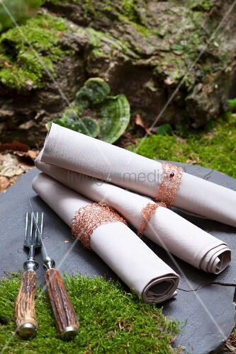 Crocheted napkins with copper-wire napkin rings in woodland