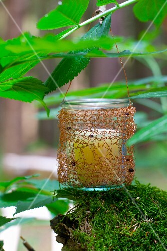Candle lantern made from preserving jar and crocheted copper wire cover hanging from branch