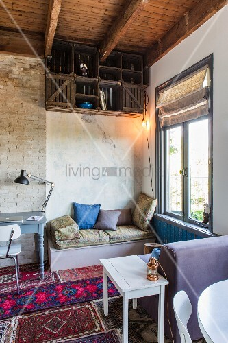 Living, working and dining areas in one-room apartment