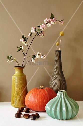 Herbstliches Stillleben mit Vasen, Blütenzweig, Hokkaidokürbis und Maronen