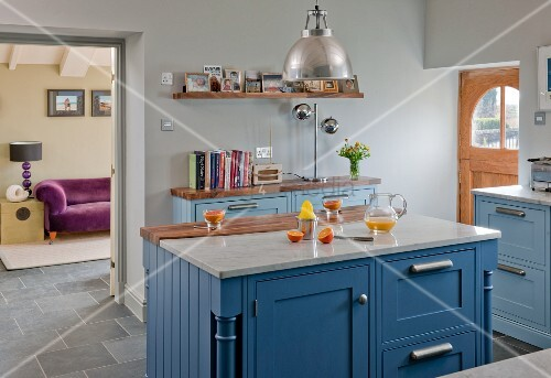 Kitchen Island With Blue Base Units And Image